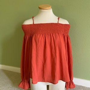Macy's Orange Long Sleeve Blouse XS